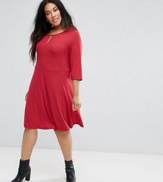 Приталенное платье с рукавами 3/4 Junarose - Красный