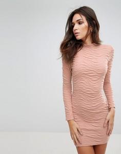 Фактурное облегающее платье AX Paris - Бежевый