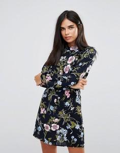Платье с длинными рукавами и цветочным принтом Ax Paris - Темно-синий