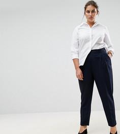 Зауженные брюки с завышенной талией ASOS CURVE - Темно-синий