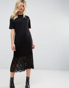 Платье-футболка миди с плиссированным кружевным низом ASOS - Черный