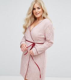 Кружевное платье с длинными рукавами и запахом Alice & You - Розовый