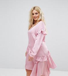 Свободное платье с длинными рукавами и оборками Alice & You - Розовый