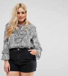 Блузка с леопардовым принтом и ярусными оборками Alice & You - Серый