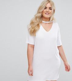 Свободное платье-футболка с чокером Alice & You - Белый