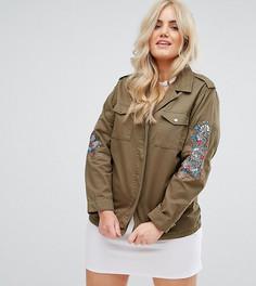 Куртка в стиле милитари с вышивкой на рукавах Alice & You - Зеленый
