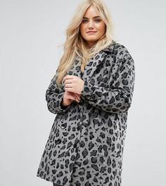 Черно-белое пальто с леопардовым принтом Alice & You - Серый