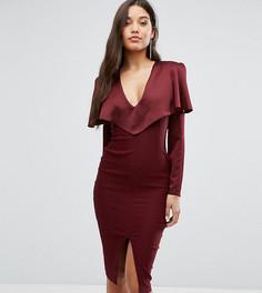 Платье миди с длинными рукавами и открытыми плечами Vesper - Красный