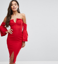 Платье миди с глубоким вырезом и отделкой на рукавах Vesper - Красный