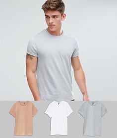 3 футболки с закатанными рукавами ASOS - СКИДКА - Мульти