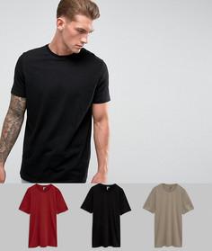 3 длинных футболки с круглым вырезом ASOS - Скидка - Мульти
