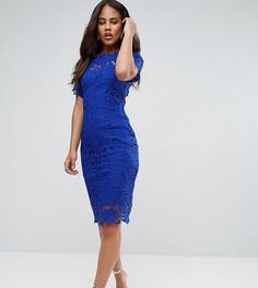 Кружевное платье миди с открытыми плечами Paper Dolls Tall - Синий