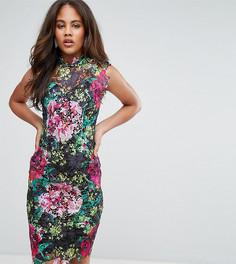 Кружевное платье-футляр с высоким воротником отделкой кроше Paper Dolls Tall - Мульти