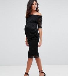 Кружевное платье с открытыми плечами и укороченными рукавами ASOS Maternity - Черный
