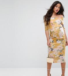 Желтое платье с открытыми плечами, рукавами до локтя и цветочным принтом ASOS Maternity - Мульти