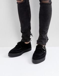 Криперы из веган-замши с острым носком и пряжками T.U.K - Черный TUK