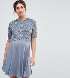 Короткое приталенное платье в два слоя с кружевом ASOS Maternity NURSING - Серый