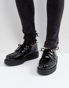 Блестящие криперы на платформе со шнуровкой T.U.K - Черный TUK