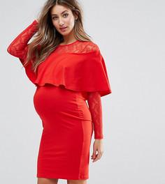 Облегающее платье мини с кружевом и оборками ASOS Maternity - Красный