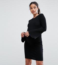 Облегающее платье мини в рубчик с рукавами клеш ASOS Maternity TALL - Черный