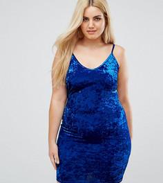 Облегающее платье из мятого бархата на тонких бретельках Club L Plus - Синий