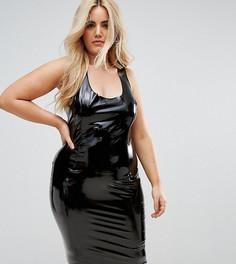 Блестящее облегающее платье Club L Plus - Черный