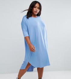 Свободное платье-футболка с закругленным низом ASOS CURVE - Синий