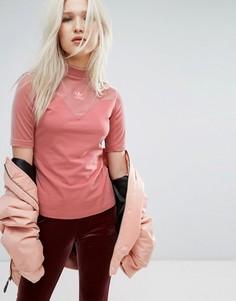 Розовый бархатный топ с высоким воротом Adidas Originals Vibes - Черный