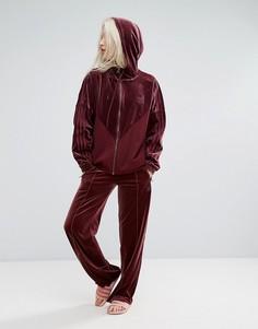 Широкие бархатные брюки adidas Originals - Красный
