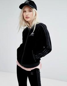 Черный бархатный бомбер adidas Originals - Черный