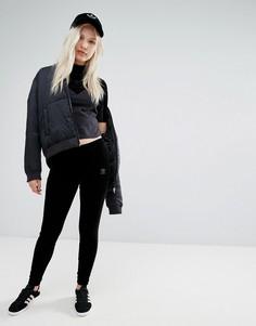 Черные бархатные леггинсы adidas Originals - Черный