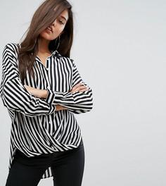 Рубашка свободного кроя в широкую полоску с запахом Parallel Lines - Черный