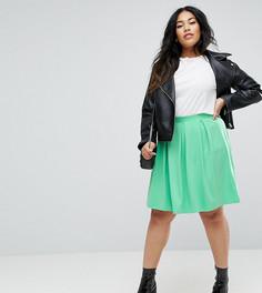 Расклешенная мини-юбка со складками ASOS CURVE - Зеленый