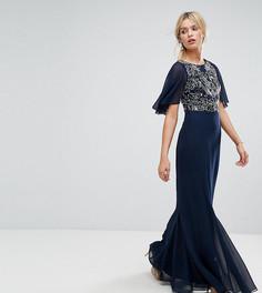 Платье макси с расклешенными шифоновыми рукавами Amelia Rose - Темно-синий