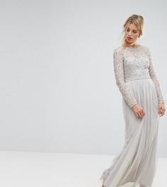 Кружевное платье макси Amelia Rose - Серый