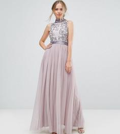 Платье макси с тюлевой юбкой Amelia Rose - Фиолетовый