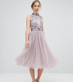 Платье миди с тюлевой юбкой Amelia Rose - Фиолетовый