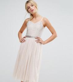 Декорированное платье миди с юбкой из тюля Amelia Rose - Коричневый
