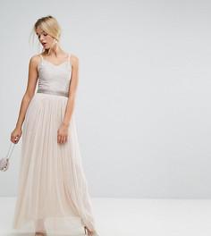 Декорированное платье макси с юбкой из тюля Amelia Rose - Коричневый