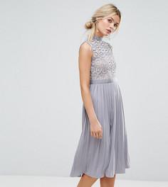 Кружевное плиссированное платье миди Little Mistress Premium - Серый