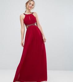 Шифоновое платье макси с вырезами и отделкой Little Mistress - Красный