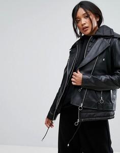 Стеганая двухслойная кожаная куртка Gestuz - Черный