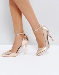 Золотисто-розовые туфли-лодочки с ремешком вокруг щиколотки Glamorous - Золотой
