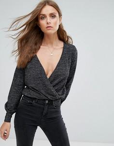 Трикотажная блузка с запахом Only - Черный