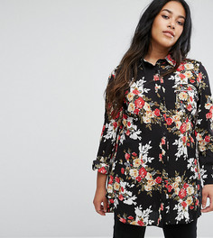 Длинная рубашка с цветочным принтом Rage Plus - Черный