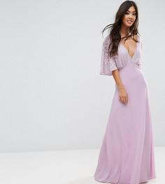 Платье макси с открытой спиной и кружевными рукавами клеш John Zack Petite - Фиолетовый