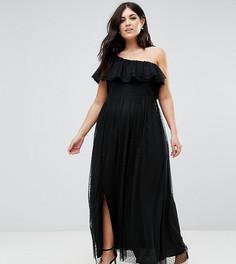 Сетчатое платье макси в горошек на одно плечо John Zack Plus - Черный