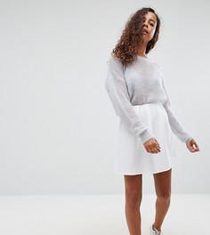 Короткая расклешенная юбка в рубчик со складками ASOS PETITE - Белый
