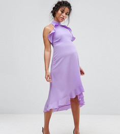 Платье миди с высоким воротом и оборками Queen Bee - Фиолетовый