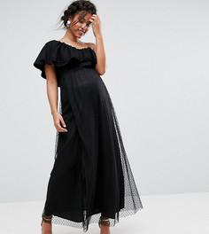 Сетчатое платье макси в горошек на одно плечо Queen Bee - Черный